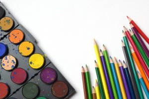 colouring pencils with palette