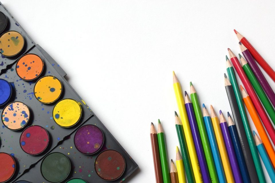 colouring pencils with palet