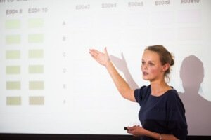 woman presenting on powerpoint