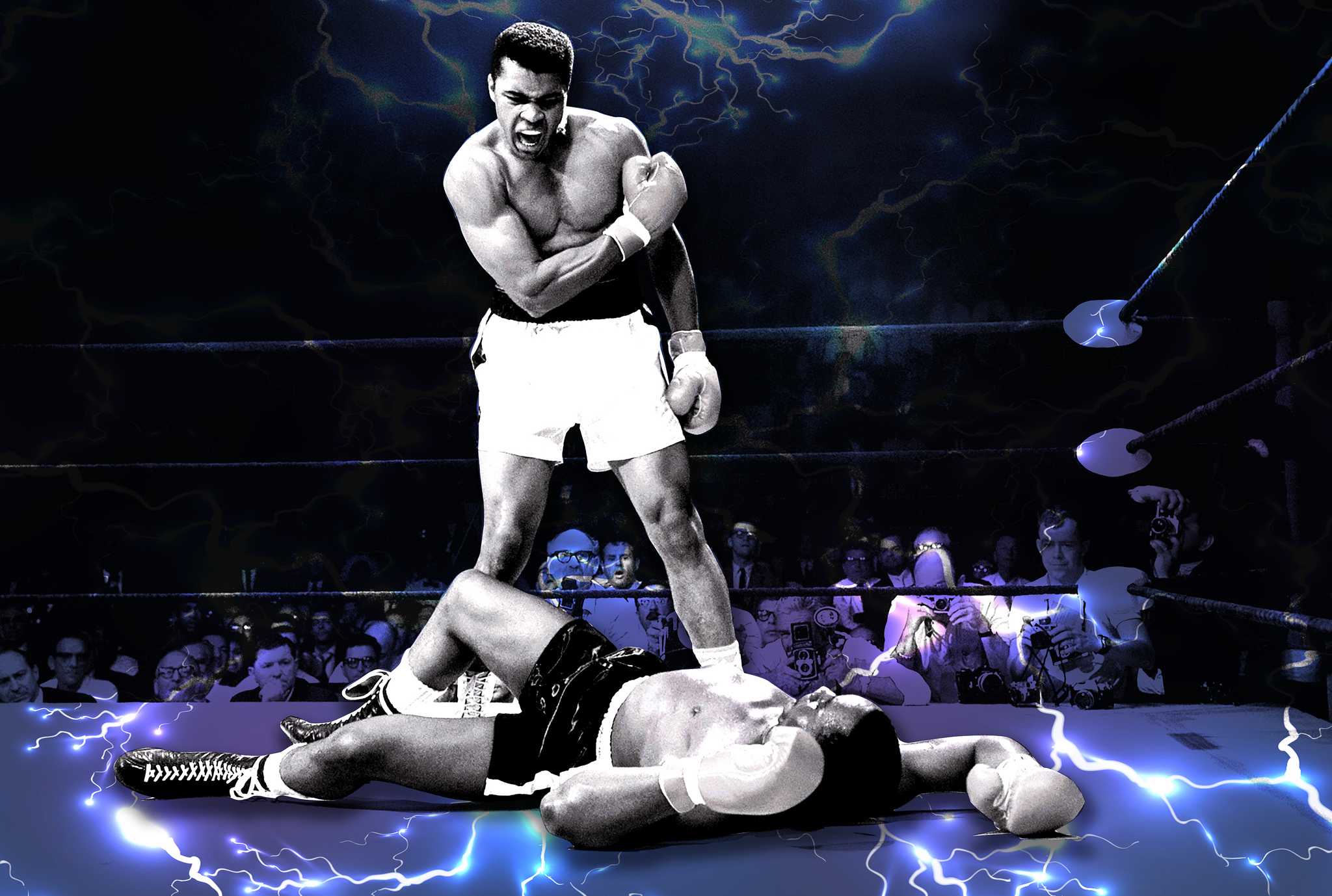 Muhammad Ali the boxer standing over his opponent knocked out in the ring