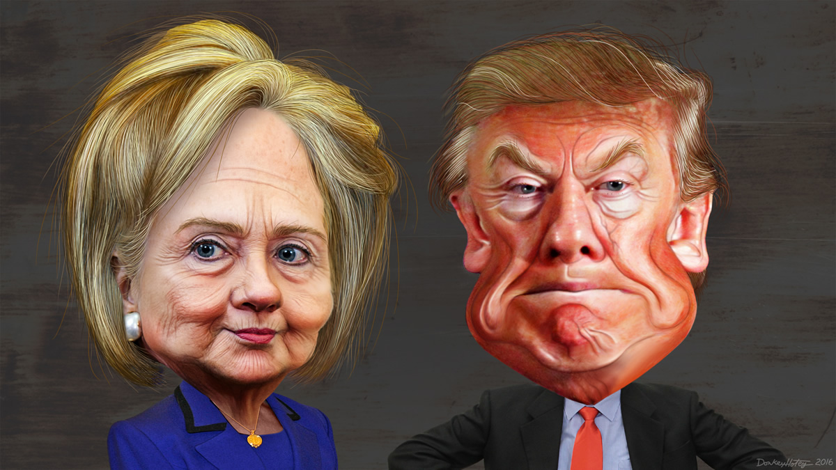 models of Hillary Clinton and Donald Trump
