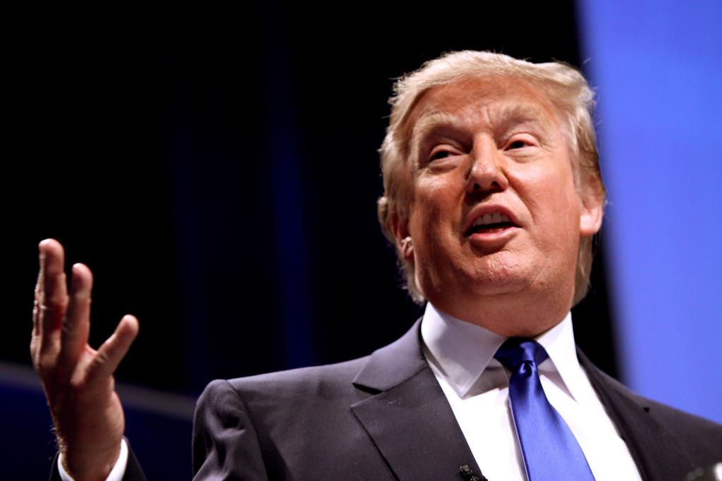 Donald Trump presenting