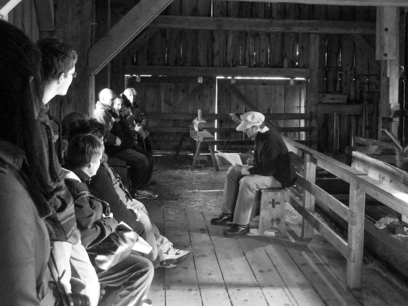 storytelling in a barn