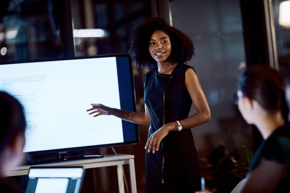 woman presenting using screen
