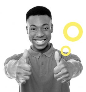 man holding both thumbs up