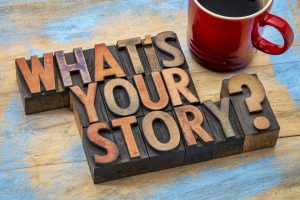 what is you story question wood type printing blocks with a cup of coffee