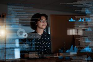 woman presenting data virtually