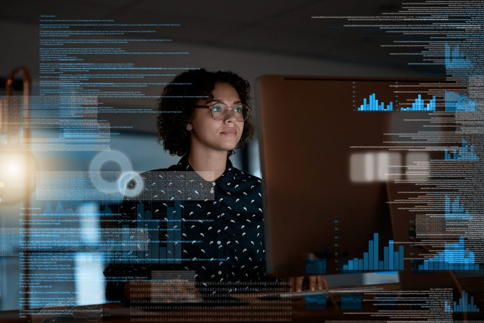 woman presenting data virtually