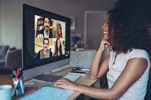 woman giving virtual presentation